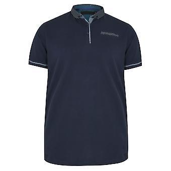 Navy Polo Shirt With Contrast Polka Dot Collar & Pocket Trim