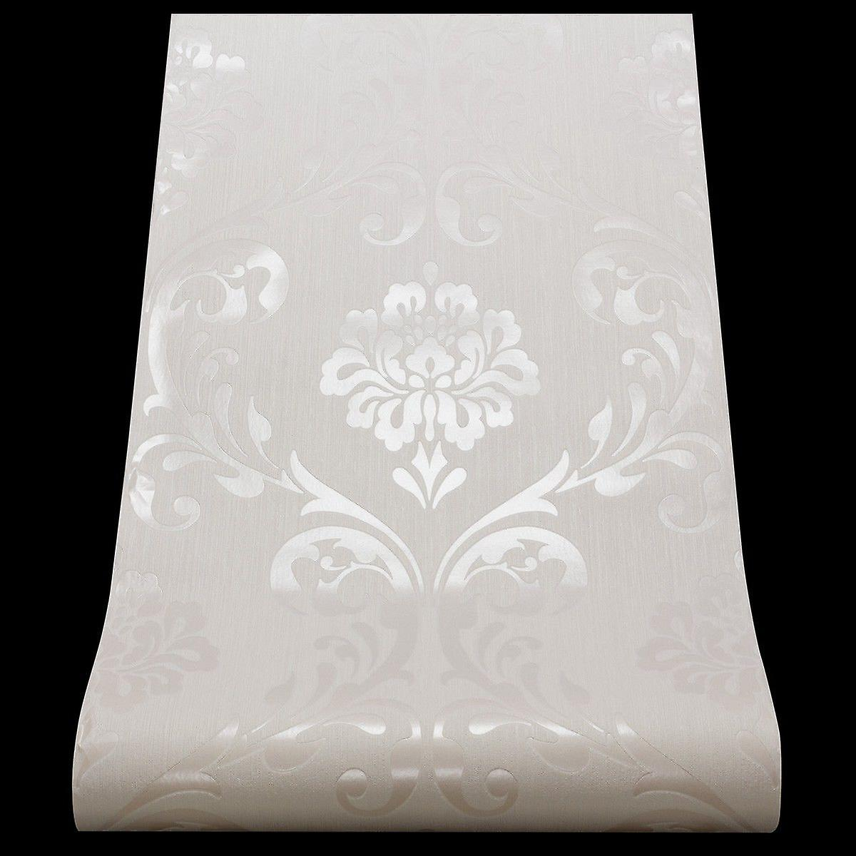 Damask Wallpaper Textured Vinyl Off White Shiny Silver Paste The Wall P+S