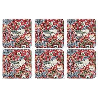 Pimpernel Morris & Co Strawberry Thief Coasters, Red, Set of 6