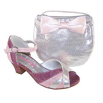 Girls pink and silver peep toe shoes with matching bag