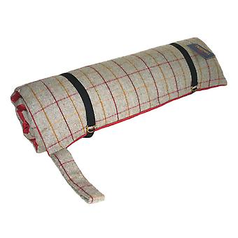 Luxury Tweed Travel Dog Bed with Red Suede Base