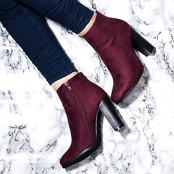 Spylovebuy THORA Block Heel Ankle Boots Shoes - Bordeaux Suede Style