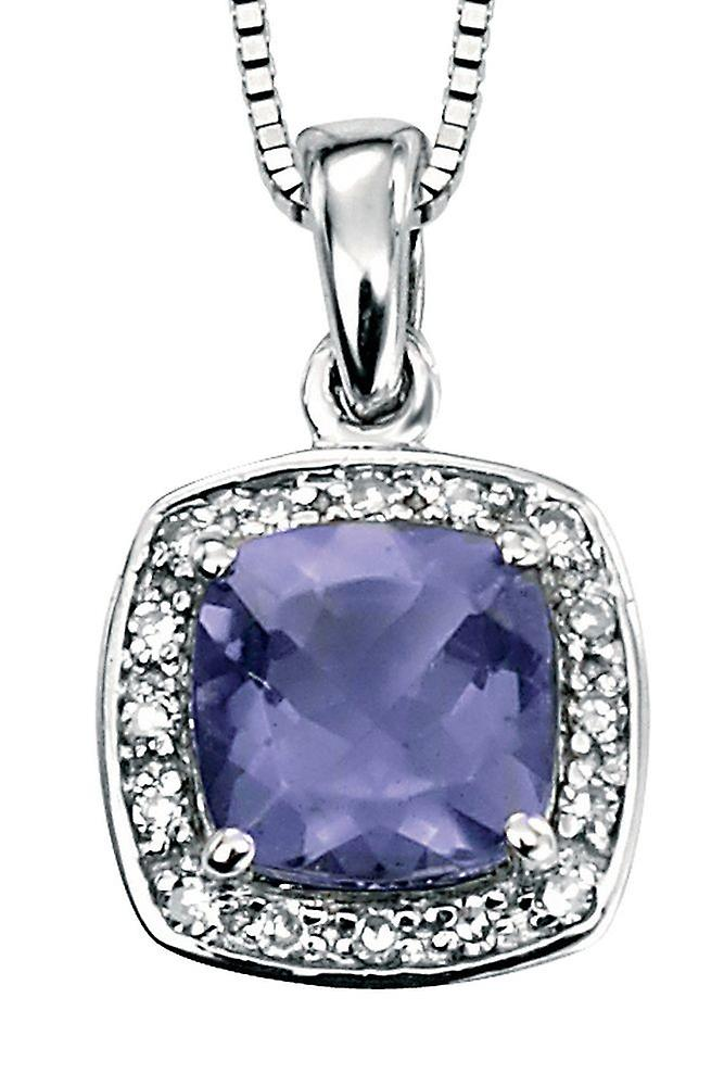 9Ct blanc or With Iolite And Diamond Necklace