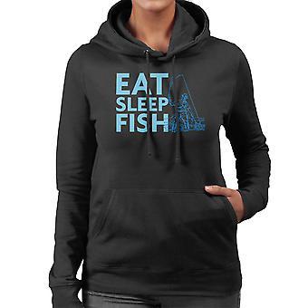 Eat Sleep Fish Blue Fisherman Women's Hooded Sweatshirt
