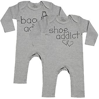 Spoilt Rotten Bag & Shoe Addicts Baby Footless Romper Twins Set