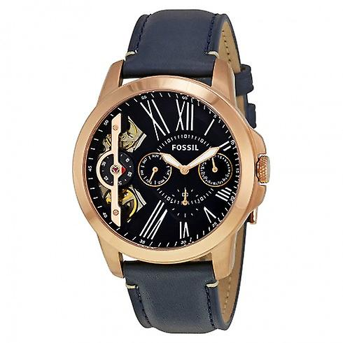 Grant Black Dial Black Rose Gold-tone Leather Men's Watch