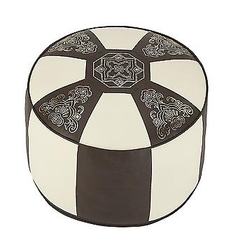 Cushion stool 34 x 50 x 50 furniture footstool Pouffe Oriental Brown / champagne around leatherette