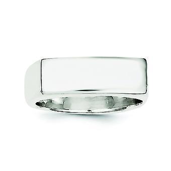 Sterlingsølv Solid poleret åben tilbage Engravable signetring - ringstørrelse: 6-8