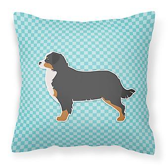 Bernese Mountain Dog Checkerboard Blue Fabric Decorative Pillow