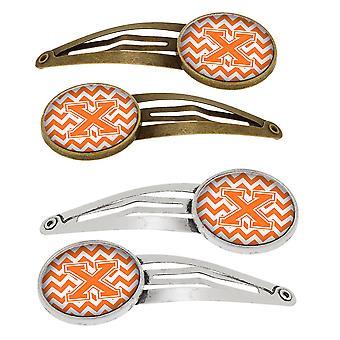Lettera X Chevron arancione e bianco Set di 4 clip per capelli Barrettes