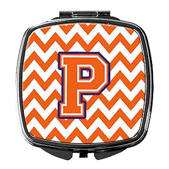 Letter P Chevron Orange and Regalia Compact Mirror