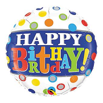 Qualatex 18 Inch Birthday Band & Dots Circle Foil Balloon