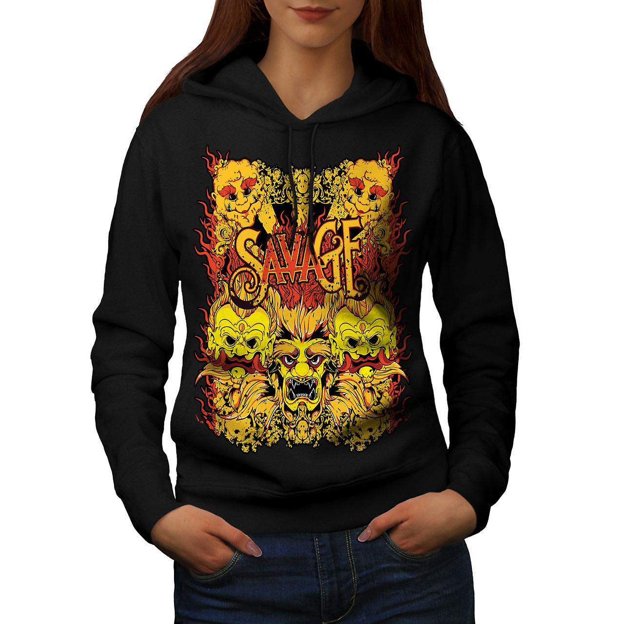 Savage Devil Japan Horror Women Black Hoodie | Wellcoda