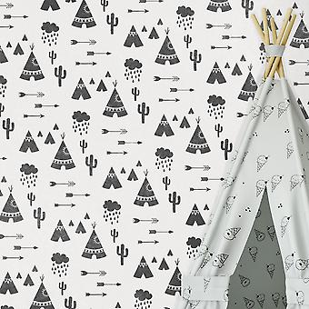 Tipi Village Wall Stencil