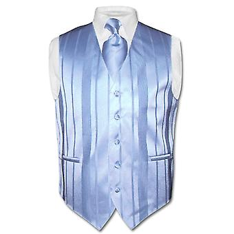 Men's Dress Vest & NeckTie Woven Striped Design Neck Tie Set