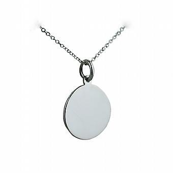 Zilveren 17mm ronde platte schijf met een rolo ketting 24 inch