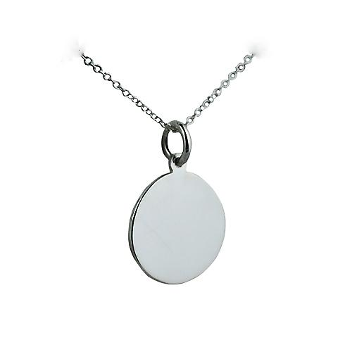 Silver 17mm round plain Disc with a rolo Chain 14 inches Only Suitable for Children