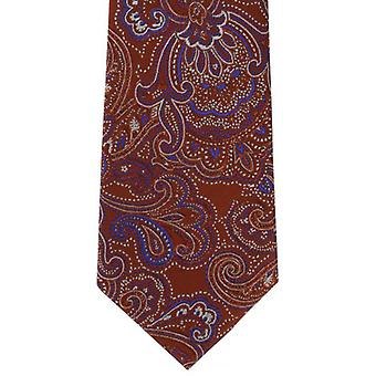 Michelsons of London Decorative Paisley Silk Tie - Orange