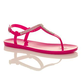 Ajvani womens flat t-bar diamante strappy buckle jelly rubber thongs summer sandals