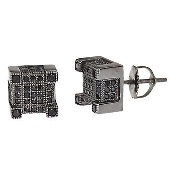 Sterling BOX 8 mm 925 Silver MICRO PAVE earrings - black