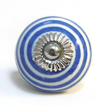 Navy Blue Striped Ceramic Cupboard Knob