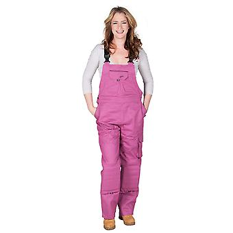 Rosies Womens Dungarees - Dark Pink Ladies Work Overalls Raspberry Workwear