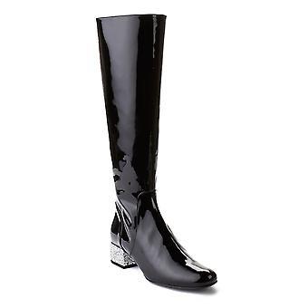 Saint Laurent Women's Babies Mid-Calf Patent Leather Boots Shoes Black