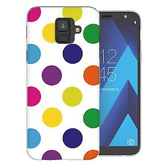 Samsung A6 (2018) meerkleurige Polka Dot TPU Gel geval