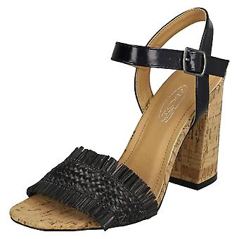 Ladies Spot On Chunky Heel Sandals F10843 - Rose Gold Metallic Foil - UK Size 8 - EU Size 41 - US Size 9