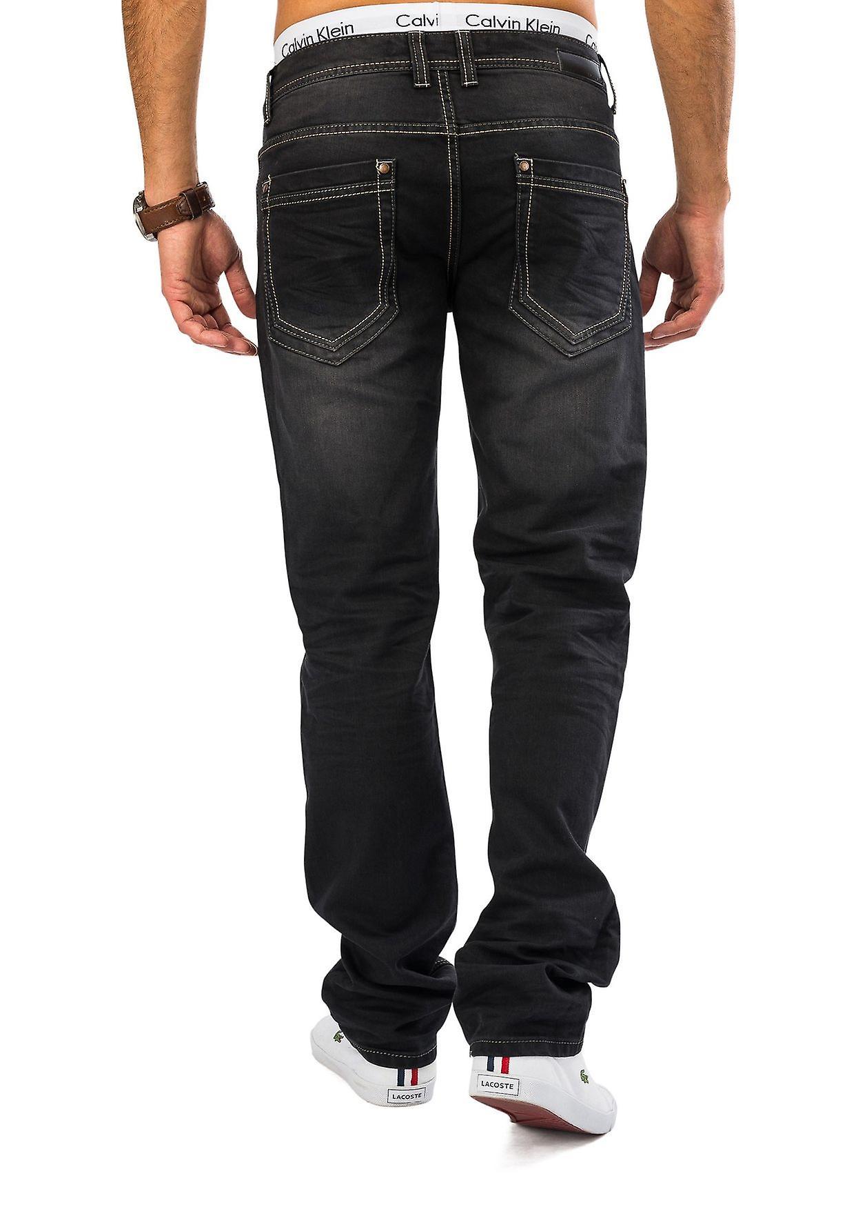 Men Raw Denim Jeans Dark Grey DEVIN Regular Fit Straight Leg 100% cotton