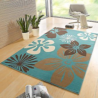 Designer velour carpet flora Blau | 102404