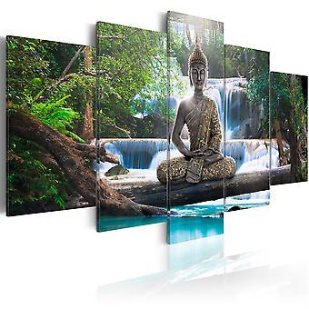 Lærred Udskriv - Buddha og vandfald