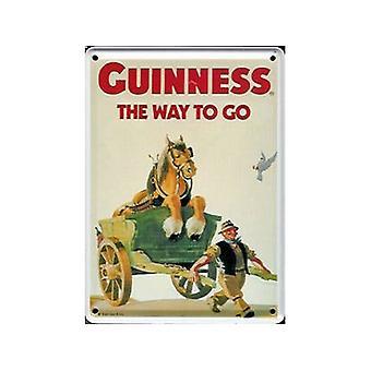 Guinness-Pferd & Wagen Metall Postkarte / Mini Zeichen