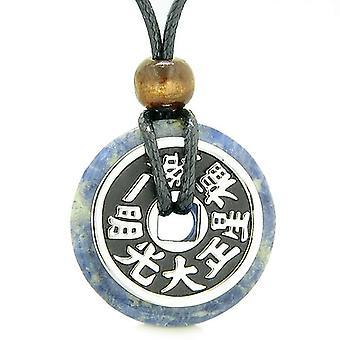 Stor dobbelt heldig Reversible formue mønt Donut sodalit Feng Shui beføjelser vedhæng halskæde