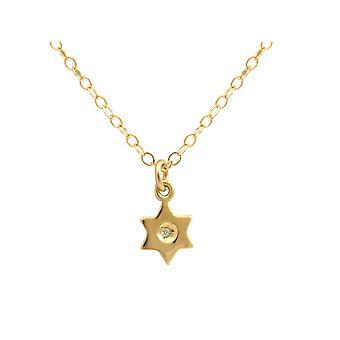 Gemshine Halskette Anhänger STERN Diamant Brillant 925 Silber Vergoldet 1 cm