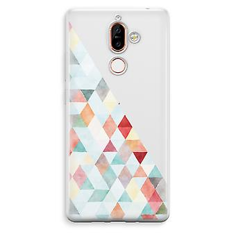 Nokia 7 Plus Transparent Case - Coloured triangles pastel