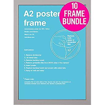 GB plakater 10 sølv A2 MDF plakat rammer 42 x 59,4 cm bundt