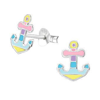 Anchor - 925 Sterling Silver Colourful Ear Studs - W37136x