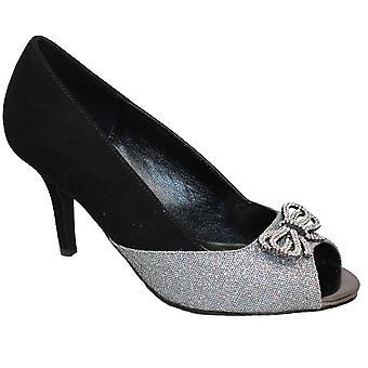 FLR378 Adelia Suede Peep Toe Diamante Bow Accent Glitter Sparkle talons embrayage