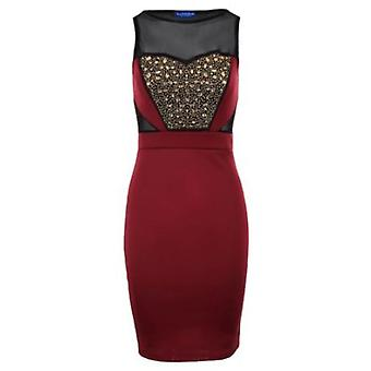 Ladies Sleeveless Mesh Insert Jewelled Embroided Front Women's Bodycon Dress