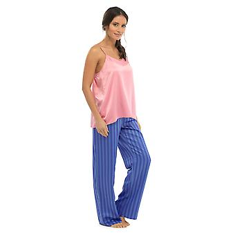 Ladies Wolf & Harte Strappy Top And Trouser Summer Stripe Satin Pyjama Sleepwear