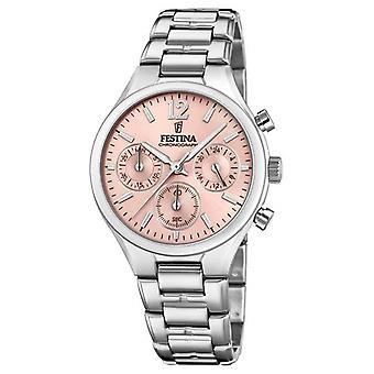 Festina Womens Boyfriend Chronograph Stainless Steel Pink Dial F20391/2 Watch