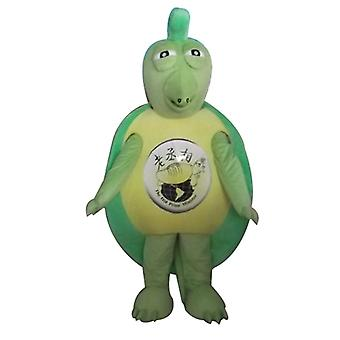 mascot SPOTSOUND of green and yellow, original and funny turtle