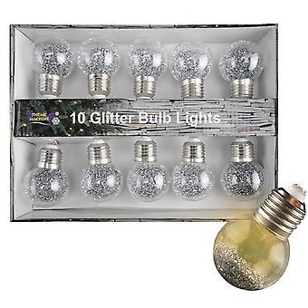 TRIXES Set of 10 Glitter LED Lightbulbs Festive Decoration – Silver Colour