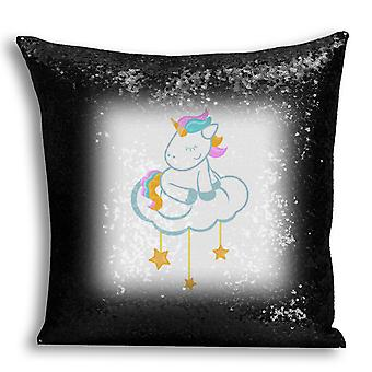 i-Tronixs - Unicorn Printed Design Black Sequin Cushion / Pillow Cover for Home Decor - 1