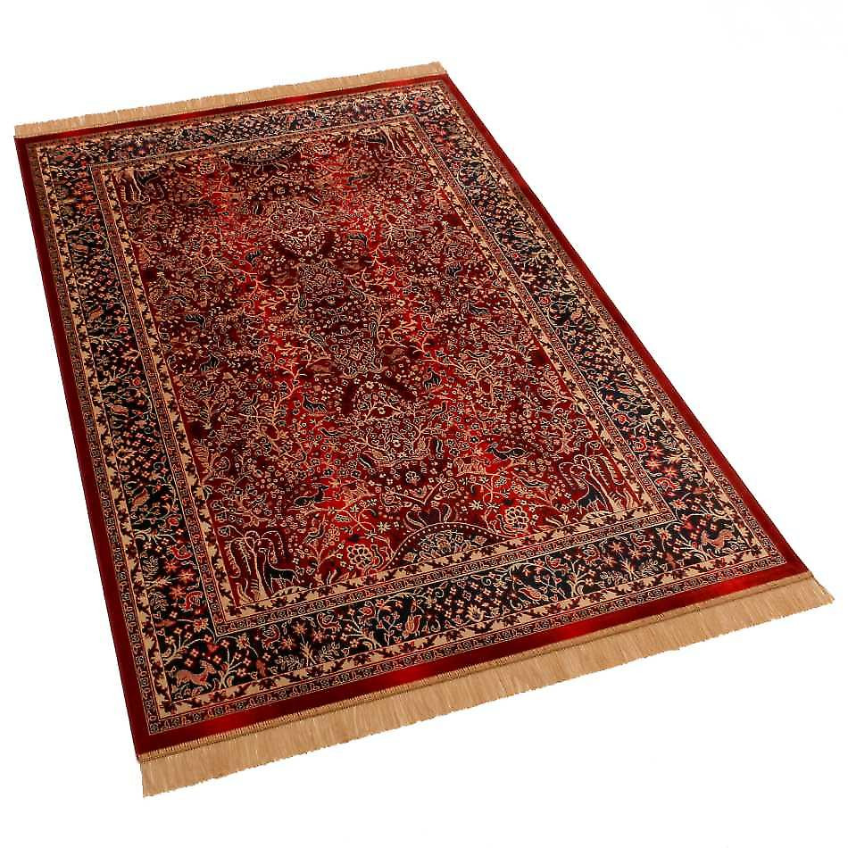 Red Persian Tree of Life Artificial Faux Silk Effect Rugs H262/12 140 x 200cm