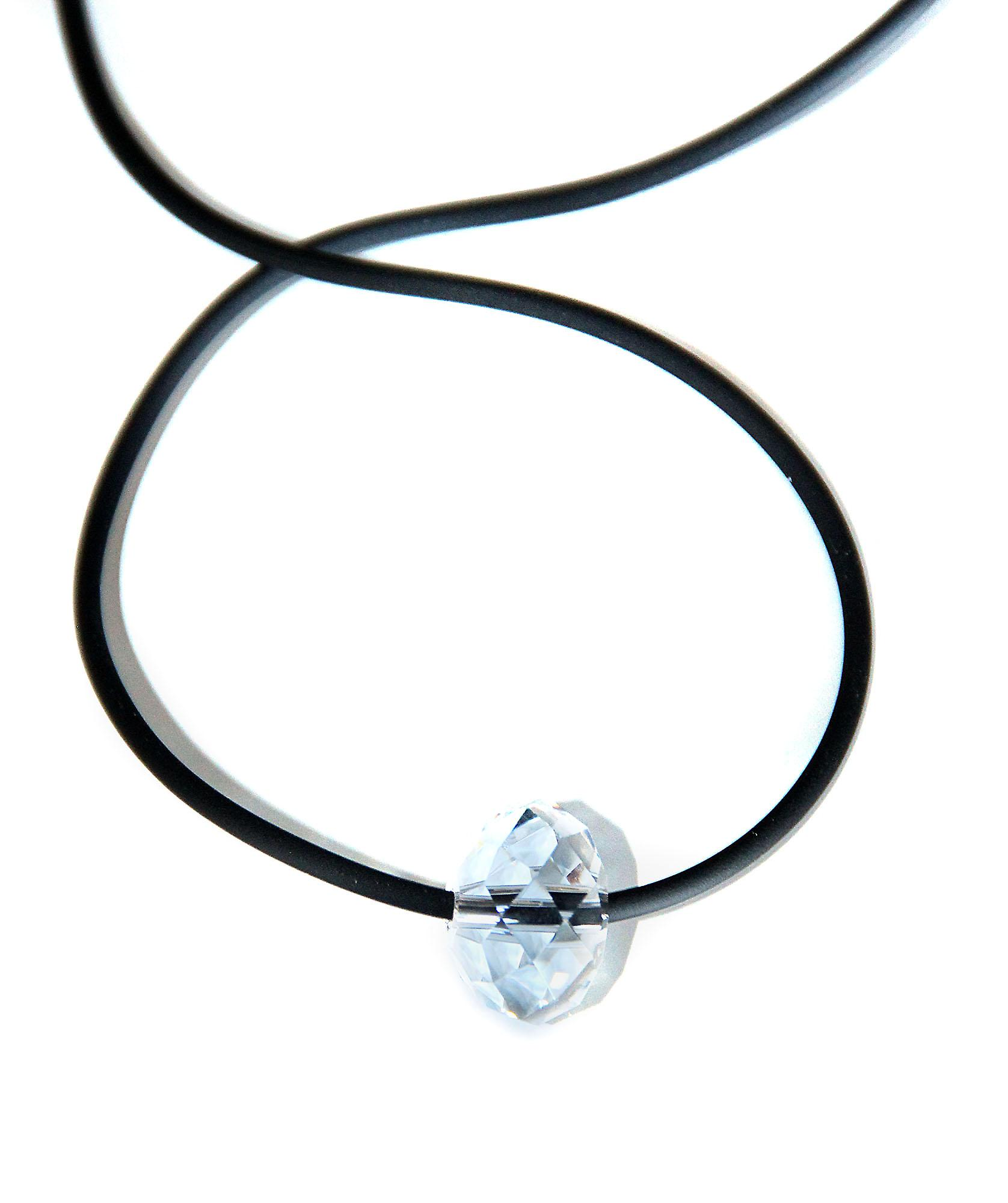 Waooh - Jewelry - Swarovski / white diamond pendant and cord rubber - small