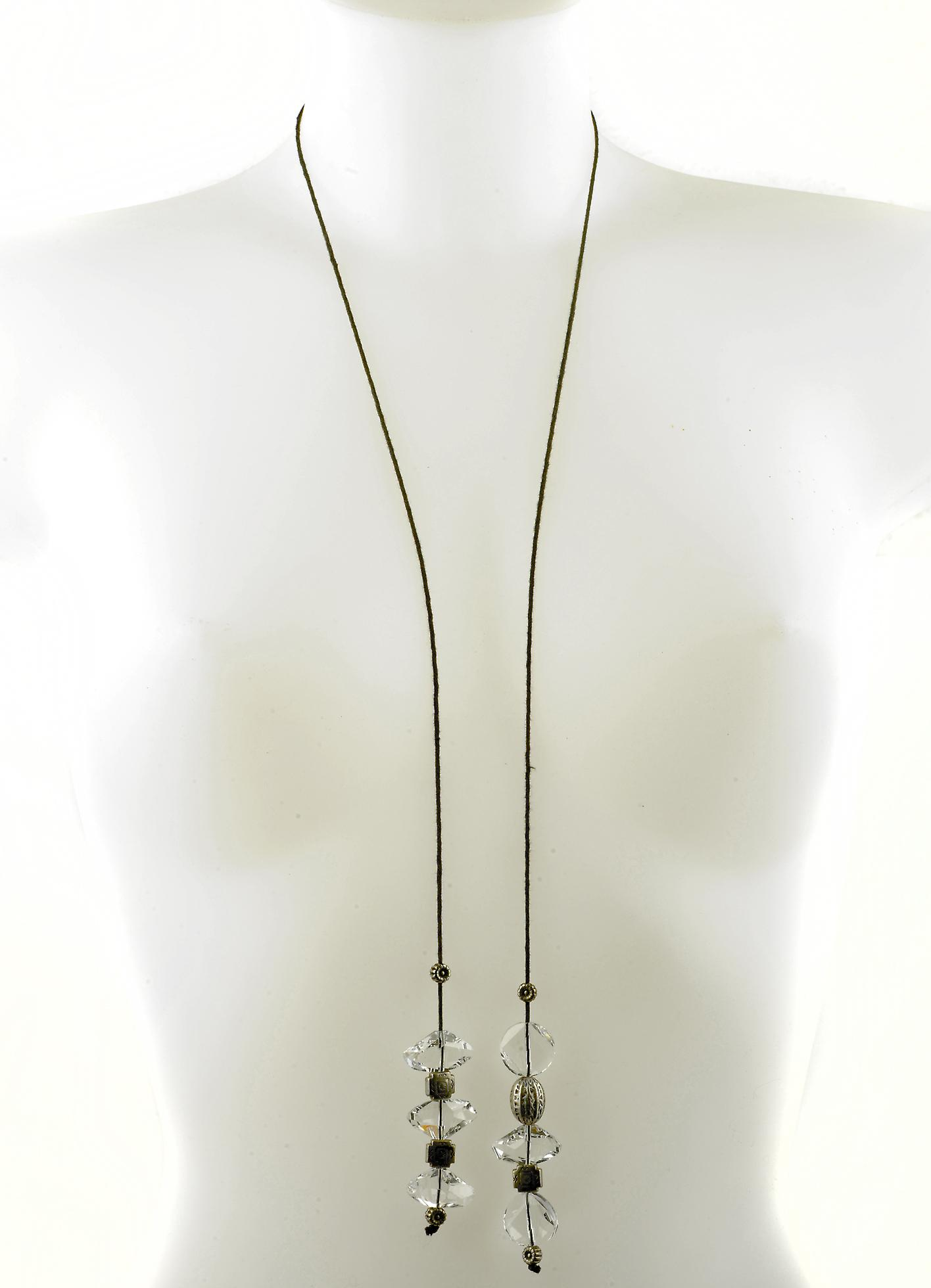 Waooh - Fashion Jewellery - WJ0290 - Necklace with Swarovski Pierre White - Silver Pendant Old