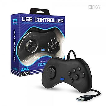 Saturn styl kontroler USB dla PC / Mac (czarny) - CirKa