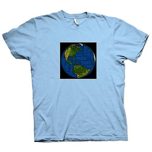 Mens T-shirt - Earth Peace Map